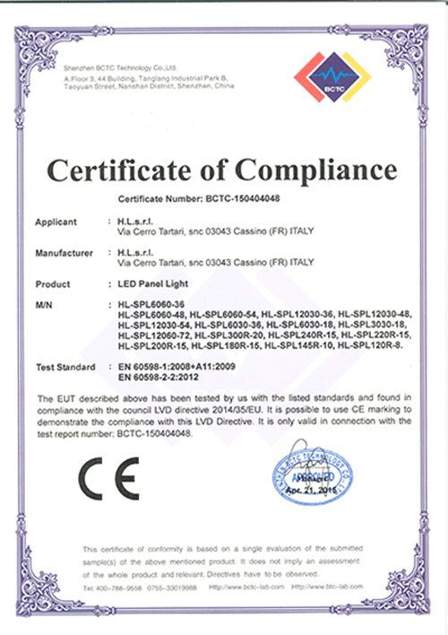 Led Panel Light Certificate